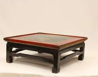 Coffee Table Antique All Original Shanxi Painted Gong 100 Years Old  Oriental Asian Red And Black