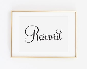 Reserved Signs for Wedding, Wedding Reserved Sign, Wedding Reception Signs, Reserved Table Sign, Reserved Wedding Sign, (Set of 2), WFS04