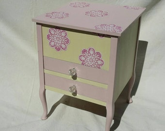 Pastel, pink, and, cream, storage cabinet, with, drawers, perfect for a girl's, nursery, or bedroom