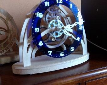 pendulum skeleton wooden epicyclic gear: Blue Plexi