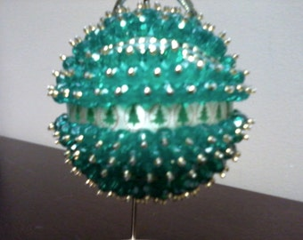 Christmas Ornament - Green with Gold