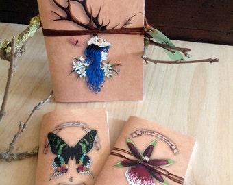 "3 small notebooks ""Lys, Zygopetalum, Urania butterfly orchid"""