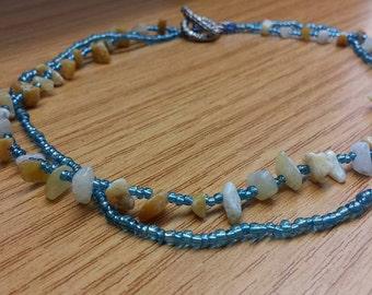 Light blue beaded necklace with aventurine gemstones