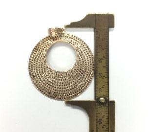 All Diamond Pave Rose Gold Disc Pendant