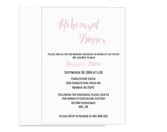 Rehearsal Dinner Invitation Printable, Customizable, Wedding Rehearsal, Formal
