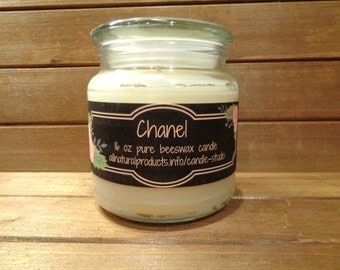 16 oz scented beeswax candle in glass jar