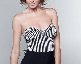Black & White Striped Maillot