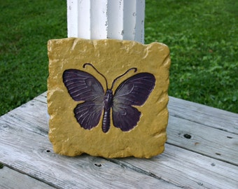 Fossil Butterfly Yellow Stepping Stone Concrete Garden Art