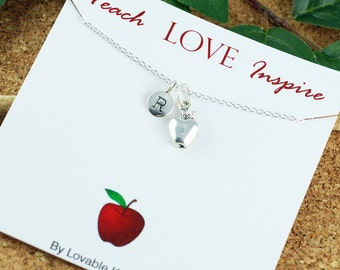 Teach Love Inspire Necklace, Personalized Teacher Gift, Teach Love Inspire Teacher Necklace with Apple Charm - Teacher Appreciation Gift