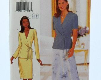 Vintage 90s Butterick Sewing Pattern 6000 David Warren Skirt Wrap Top Blouse Size 8-10-12 UNCUT