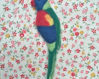 Rainbow Lorikeet Needle-felt Wool Brooch