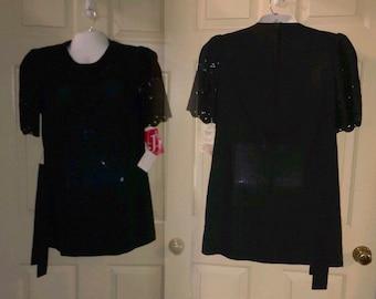 Vtg NOS 1960's Black Belted Eyelet Short Sleeve Mini Dress by The Jones Girl Sz 10