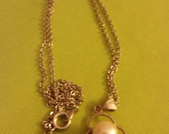 Vintage Sterling Necklace with Pearl Pendant