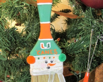Hand-Painted Paint Brush Christmas Ornament Featuring a Miami Hurricanes Sports Fan Snowman, Team Customizable