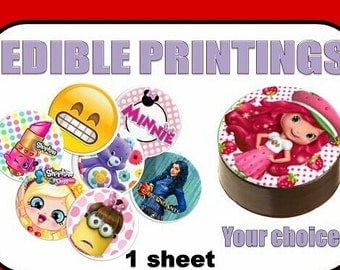 Cupcake Toppers, EDIBLE PRINTINGS, Edible  paper, Pre-Cut, Ready to Use, Circles, Any Theme, Character, Cartoon, Any Image.
