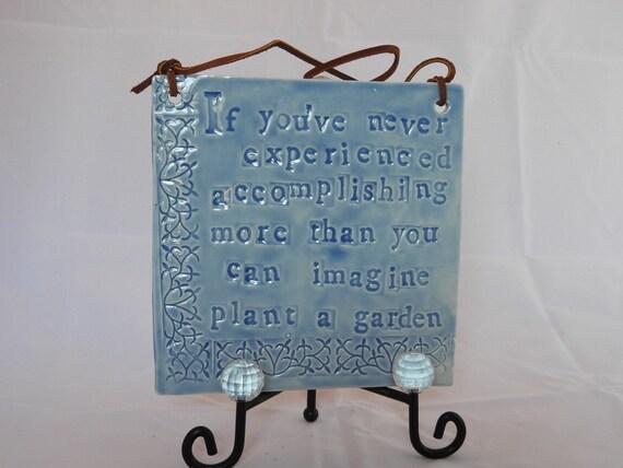 Beautiful Handmade Porcelain Garden Plaque with Leather Hanger