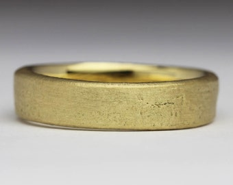 Sandcast 18ct Yellow Gold, Unique Wedding Ring, Organic Flat Ring, 5mm Wedding Band, Rustic Recycled Gold, Unusual Primitive Style Sand
