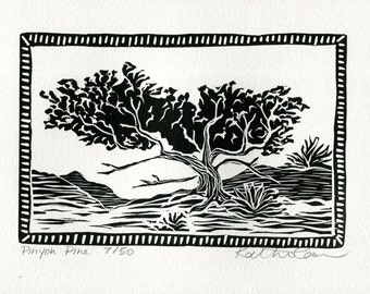 Pinyon Pine Linocut Print