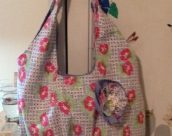 Handmade Vintage Flour Sack Handbag, Blue with Pink Flower