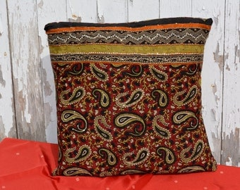 Red and Black Paisley Pillow Slip Cover