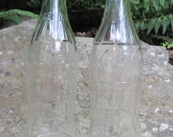 Vintage Coca Cola Coke glass soda bottles, 10 ounces, lot of 2