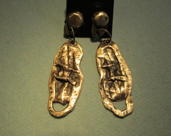 Folds of passion. Silver Earrings