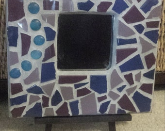 Shades of blues and purples -  Mosaic mirror