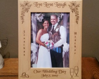 Laser Engraved Live Love Laugh Wedding Picture Frame available in 3 sizes