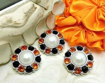 WHITE Pearl Buttons W/ Orange & Black Surrounding Rhinestones Valentine Buttons Bridal Bouquets Button Bouquets 25mm 2997 09P 1 40R