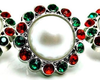 CHRISTMAS White Pearl Buttons W/ Green & Red Surrounding Rhinestones Acrylic Button Brooch Bridal Bouquets 26mm 3185 09P 3 6R