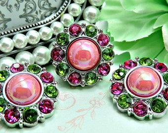 Pearl Rhinestone Buttons Acrylic Shiny AB Pink Pearl Button W/ Apple Green And Hot Pink Surrounding Rhinestones 25mm 2997 55P 24 38R