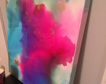 SOLD! Original multicolored alcohol ink painting.