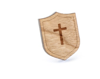 Christian Cross Lapel Pin, Wooden Pin, Wooden Lapel, Gift For Him or Her, Wedding Gifts, Groomsman Gifts, and Personalized