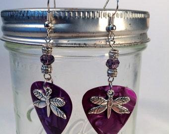 Purple Dragonfly Guitar Pick Earrings