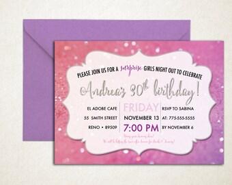 glitter surprise birthday invites, girly, purple, pink, glittery, sparkle invite, surprise party
