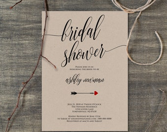Rustic Bridal Shower Invitation, Editable Kraft Wedding Shower Invite Template, Instant Download, Printable Shower Invite, PDF File #110BS