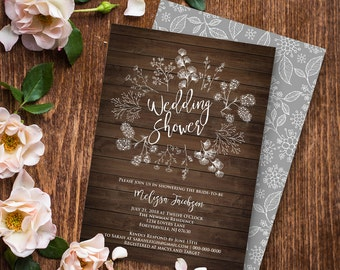 Wedding Shower Invitation Template, Couples Shower Printable, DIY Rustic Wood Wreath Bridal, Instant Download, Editable PDF File #018-107BS