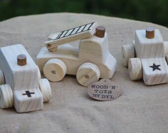 Pete, Adam & Fred - Handmade Wooden Emergency Vehicles x 3