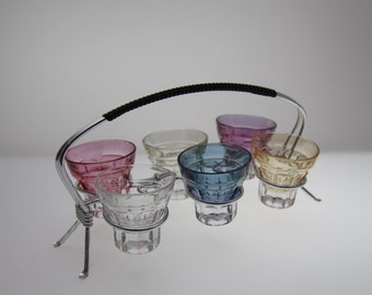 Colourful Shot glasses and holder, Schnaps, Snaps - mid century