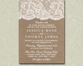 "5"" x 7"" Rustic Burlap & Vintage White Lace Wedding Invitation Digital File"