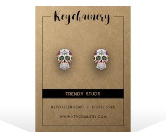 Mexican Sugar Skull Stud Earrings - Calavera Day Of The Dead Accessories - Nickel-free Stud Earrings