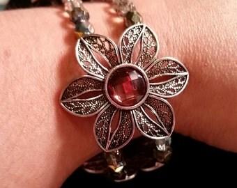 Dark Brown Crystal Flower Bracelet (Metal)