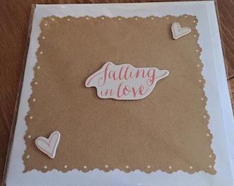 "Handmade card- Falling in love- 6x6"""