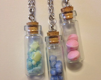 Bottle Necklaces with Charms