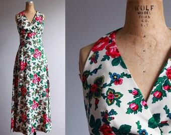 1970s Floral Maxi Dress - Small