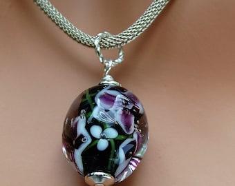 Lampwork Pendant - Transparent Violet with Black Stamen