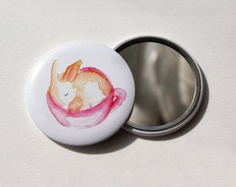 Baby rabbit in a teacup - Pocket mirror 56mm