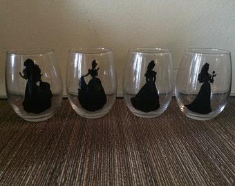disney wine glasses, disney princess wine glasses, stemless wine glasses, cinderella, belle, ariel, aurora