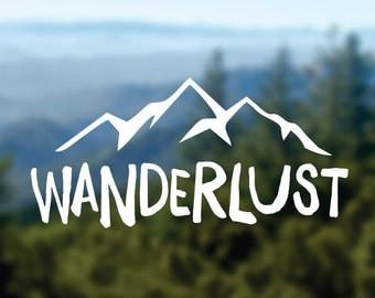 WANDERLUST Decal, Mountains Vinyl Sticker, Car Window Decal, Laptop Decal, Water Bottle Decal, Adventure Decal, Bumper Sticker, Nature Decal
