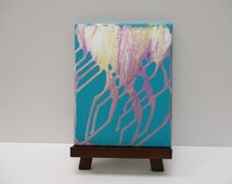 Small Canvas Art, Poured Painting, Turquoise Painting, Purple Wall Art, Gold Abstract, White Wall Art, Modern Art, Affordable Painting